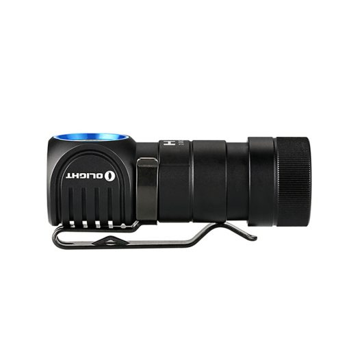Olight H1R Headamp/ Pocket Light - Side View with Pocket Clip Attached