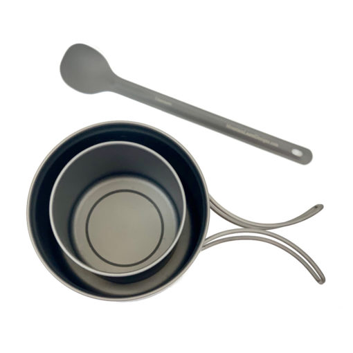 Titanium Pot, Mug & Long Handle Spoon Set